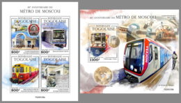 TOGO 2020 MNH 85 Years Moscow Metro Moskauer U-Bahn Metro De Moscou M/S+S/S - IMPERFORATED - DH2016 - Trains