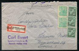F0146 - SBZ-MVP - Mi. 14 + 39, Je Senkr.Paar + 39 Einzelmarke Auf R-Brief Mit Feldpost-R-Zettel, Ank.-Stempel Schwerin - Sovjetzone
