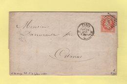 Paris - Bureau D - Obliteration D Baton Grand Logement - 28 Sept 1858 - Double Port - N°16 Orange Vif - 1849-1876: Klassieke Periode