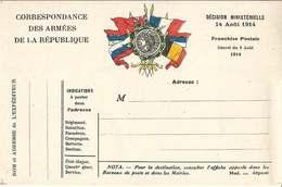 """CORRESPONDANCE DES ARMÉES  /  DRAPEAUX  /  En  Médaillon  :  """" Marianne """"  /  NEUVE - FM-Karten (Militärpost)"""