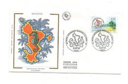 Timbre Premier Jour D'émission Mayotte Rattachement Volontaire à La France Paris 1991 - Timbrede 2.50 Francs - Geographie