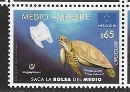 URUGUAY, 2019, MNH, ENVIRONMENT, PLASTIC BAGS, TURTLES, REMOVE PLASTIC BAG FROM ENVIRONMENT,1v - Schildkröten