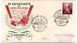Carta Con Matasellos Commemorativo Convoy De La Victoria De Algeciras. - 1931-50 Storia Postale