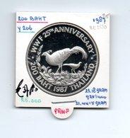 THAILAND 200 BAHT BE2530 - 1987 ZILVER PROOF 25th ANNIVERSARY WWF PHEASANT PAUW - Thaïlande