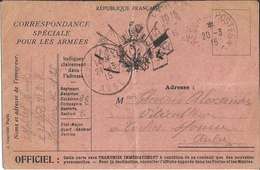 CORRESPONDANCE  SPÉCIALE  POUR  LES  ARMÉES  /  Drapeaux  +  Médaillon Marianne  /  Envoi  à  LOCHES Sur OURCE ( Aube ) - FM-Karten (Militärpost)
