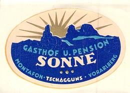 Publicité > Etiquette POUR MALLE VALISE ANCIENNE HOTEL GASTHOF U PENSION SONNE MONTAFON TSCHAGGUNS VORARLBERG - Hotel Labels