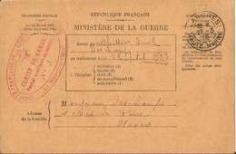 BULLETIN  DE  SANTÉ  D'UN  MILITAIRE  EN  TRAITEMENT  Avec  CACHET  HÔPITAL  AUXILIAIRE  DE  LANGRES  /  Envoi  à NEVERS - Postmark Collection (Covers)