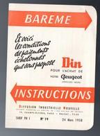 (automobile )  Barême D'nstructions DIN Pour L'achat D'une PEUGEOT  1958  (PPP22570) - Publicités