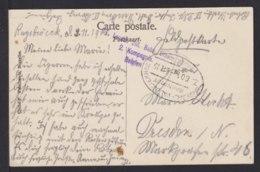 "BELGIEN - Bahnpoststempel ""Brüssel - Valensiennes/Z 60"" Auf Feldpostkarte 1915 - Occupation 1914-18"