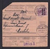 1918 - 75 C. Auf Auslandspostanweisung Ab Lüttich Nach Mecheln - Occupation 1914-18