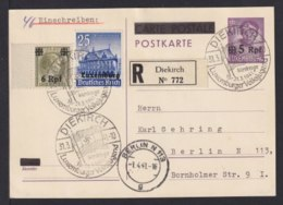 LUXEMBURG - 1941 - 5 Pf. Ganzsache Als Einschreiben Ab Diekirch Nach Berlin - Occupation 1938-45