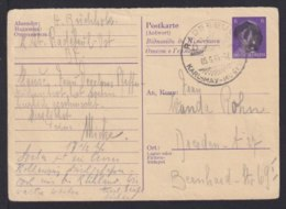6 Pf. Ostarbeiter-Antwort-Ganzsache Geschwärzt (AP P 310) Ab Radebeul Nach Dresden - Zone Soviétique