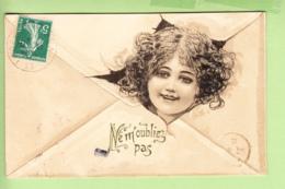 Raphaël KIRCHNER - Jeune Fille Déchirant L 'enveloppe : Ne M'oubliez Pas ! - Style Art Nouveau - Dorure  - 2 Scans - Kirchner, Raphael