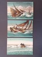 3 Cpa. Bateaux. Maquereaux. Pêche Par Gros Temps. Sauvetage En Mer. Non Voyagée. TTB. - Fishing Boats
