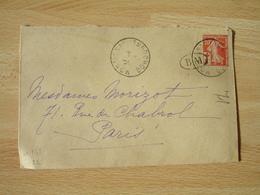Timbre Croix Rouge Semeuse 10 Plus 5 C Seul Sur Lettree  B M Montignac 24 - 1877-1920: Période Semi Moderne