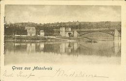 """CP De KOBLENZ ( Coblence  ) """" Gruss Aus Moselweis """" Ambulant Metz - Coblenz  1903  Bahnpost - Koblenz"""