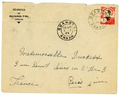 INDOCHINE ANNAM ENV 1924 QUANTRI LETTRE AVION => FRANCE - Lettres & Documents