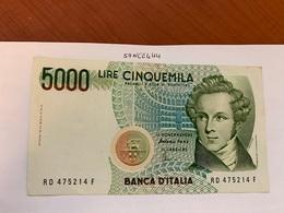 Italy Bellini Circulated Banknote 5000 Lira #1 - [ 2] 1946-… : Repubblica