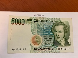 Italy Bellini Circulated Banknote 5000 Lira #1 - 5000 Lire