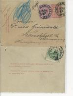 CL7+N°46 Bruxelles (-27 MAI 1889 +N°45 Au Dos-v.Francfort. D'abord Taxée Puis Annulation. R. - Entiers Postaux