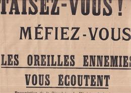 """Affichette Guerre 1914-1918 - Circulaire Du Ministre De La Guerre - 28 Octobre 1915 - """"TAISEZ-VOUS ! MÉFIEZ-VOUS ! """" 3 S - Affiches"""