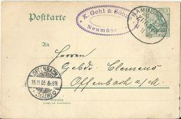 "6 045 Ganzsache Bahnpost ""HAMBURG-KIEL"" 1905 - Usados"