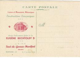 """T.RARE CARTE DES ETAB. """"E. BECHTOLDT"""" Scieries Et Menuiseries. A PONT DE GENNES - MONTFORT.N.CIRCULEE TRES BON ETAT - Montfort Le Gesnois"""