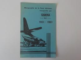 1951 1961 Aviation Genre Buvard Pub Sabena Monographie De La Poste Aérienne Caravelle - Publicités