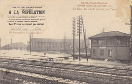 Seine-Saint-Denis - Saint-Ouen Illustré - Inondations De Janvier 1910 - La Gare Des Docks Envahie Par L'eau - Saint Ouen