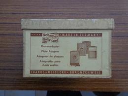 Rolleiflex Rolleicord Adaptateur Complet Pour Plaques Dans Sa Boîte D'origine, Cadre Et Plaques, Avec Trousse En Cuir - Supplies And Equipment