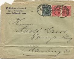 """6 051 Briefhülle Bahnpost """"HAMBURG-LÜBECK"""" 1923 INFLA - Oblitérés"""