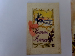 CPA  BRODEE  BONNE  ANNEE - Embroidered