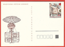 Czechoslovakia 1977; Gatto, Cat, Chat, Leonardo Da Vinci, Balloons, Aerophilately Exhibition, Postal Stationery - Gatti