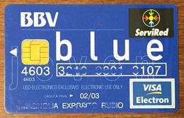ESPAGNE SERVIRED BBV BLUE VISA CASH CARTE BANCAIRE CARTE À PUCE QUE POUR COLLECTION - Cartes De Crédit (expiration Min. 10 Ans)