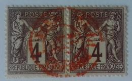 Paire Du Numéro 88, Timbres Bien Centrés, Cachet Rouge. - 1876-1898 Sage (Type II)