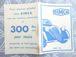 VOITURE AUTOMOBILE PUBLICITE TARIF SIMCA 1938 SIMCA 5 ET 8 6.8 X 9.4 CM - Publicités