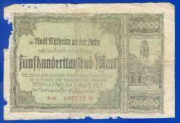 DIE STADT  MÜLHEIM AN DER RUHR_ 500 000 Mark _  1923 - Germany