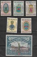 1962 Nicaragua Escudos De Armas-convencion Filatelica De Panama 6v. - Nicaragua