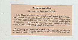Ecole De Sérologie Paris 1932 Péril Vénérien Syphilis Hôpital Saint Louis - Unclassified