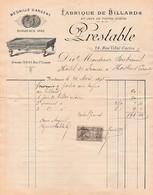 1895 -BORDEAUX - BILLARDS Et Jeux De Toutes Sortes - Maison PRESTABLE - - Documents Historiques