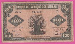 FRENCH WEST AFRICA - AOF Billet 100 F.- Pick 31a - VF - Westafrikanischer Staaten