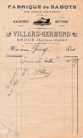 1917 DROUé (41) Fabrique De SABOTS, GALOCHES, BOTTONS - Maison VILLARS-GERMOND - Documents Historiques