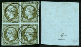 France N° 11 Bloc De 4 Obl. Càd - Signé Calves - Cote 1200 Euros - 1853-1860 Napoléon III