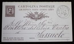 ITALIA CARTOLINA POSTALE CON RISPOSTA PAGATA 15 CENT. DA CARAGLIO (CN) A SASSUOLO (MO). 1881 - 1878-00 Umberto I