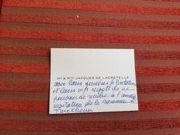 Carte De Visite Faire-part Manuscrit Jacques De Lacretelle Academicien Annee 60 - Cartes De Visite