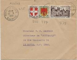 LETTRE AFFRANCHIE N° 837 -866-878- OBLITEREE CAD MARSEILLE BOURSE 1951 - 1921-1960: Periodo Moderno