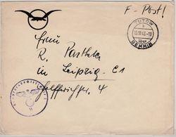 DR - Tutow ü. Demmin 1943, Poststelle I, Illustr. Feldpostbrief (Kampfbeobachter - Deutschland