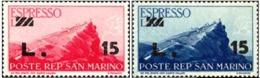 1947 - SAN MARINO - ESPRESSO SOVRASTAMPATI 15 SU 5 E 15 SU 10 -  E 16/17 -  NUOVO - MNH - Sellos De Urgencia