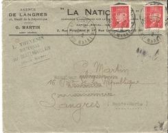 Pétain1 Devant De Lettre Chateauvillain à Langres 18/12/1942 Réutilisation De L'enveloppe Manque De Papier - 1941-42 Pétain