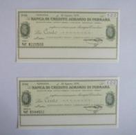 100 Lire Credito Agrario Ferrara 20/08/1976 Ass. Comm. Ferrara UNC FdS - [10] Assegni E Miniassegni